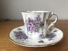 "Hammersley ""Victorian Violets"" Tea Cup and Saucer, Purple Violets Fine Bone China Teacup and Saucer, Vintage"