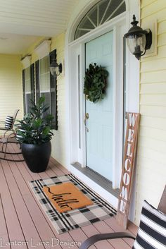 Front porch deocr and repainting front door Behr Nature's Reflection Front Porch Makeover, Front Door Porch, Front Door Decor, Front Porches, Front Deck, Front Doors, Fromt Porch Decor, Front Porch Decorations, Fromt Porch Ideas