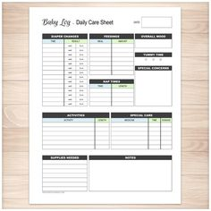 Baby Log - Daily Infant Care Sheet - Blue & Green Boy - Printable Planning