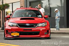 Lady in red. Subaru Sti Hatchback, Jdm Subaru, Subaru Cars, Subaru Impreza, Wrx, Japanese Domestic Market, Slammed Cars, Jdm Cars, Sport Suv