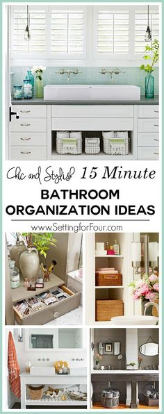 Is a cluttered bathroom slowing you down? You'll see instant results with these chic and stylish 15 minute bathroom organization ideas! These are easy tips on how to streamline and organize your towels, toiletries and bath necessities with five smart storage ideas - that are pretty too. You'll have your bathroom counter tops and cabinets tidy in a jiffy!