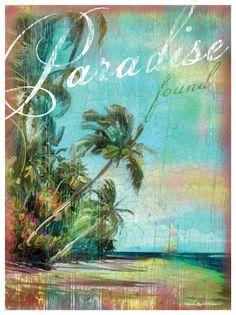Paradise Found Beach Scene Artwork: Beach House Decor, Coastal Living Boutique, Nautical, Seaside & Tropical Decor
