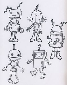Mech character design robotic robot metal cute simple minimal cartoon bild tattoos, cute drawings for Doodle Drawings, Doodle Art, Cute Drawings, Simple Cartoon Drawings, Pencil Drawings, Arte Robot, Robot Art, Robots Robots, Robots For Kids
