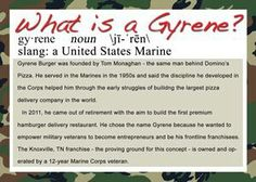 """This explains where the word """"Gyrene"""" comes from-it's an old military term used to describe Marines.  ************************************************* www.GyreneBurger.com  865-281-5426  1927 #Cumberland Avenue, #Knoxville, #TN 37916  Call Today For Pickup Or Delivery  Order Online Now ➡️  www.GyreneBurger.com  #burger #knoxville #burgers #fortsanders #tennessee #cumberland#Gyrene #LocalKnoxvilleEvent #USDiveTeam #knoxvillebestburger #gyreneburgerkx #gyreneburger#fastfood…"""