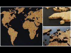 Kork Weltkarte * DIY * Cork World Map [eng sub] - YouTube Cork World Map, Easy Diy Crafts, Dyi, Desserts, Food, Youtube, Cards, Tailgate Desserts, Deserts