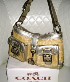 FOR SALE - CONTACT ME TO BUY DIRECT  auctioning 'COACH Legacy Woven Straw Metallic Leather Shoulder Bag VGC+' on #tophatter