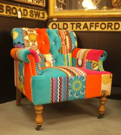 Patchwork Armchair -Part of a matching suite inc Sofa I want one of these as my crafting chair and the lovely vintage gypsy caravan and woodburner to put it into