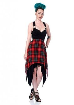 677355cced4 Amazon.com  Women s Jawbreaker Plaid Chiffon Uneven Hemline Dress Black L   Clothing