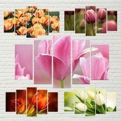 5-teiliges Wandbild Tulpen