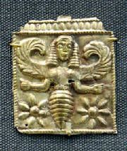 Minoan Bee Goddess, golden plaque, British Museum. Found at Camiros, Rhodes, 7th century BCE.