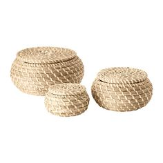 FRYKEN Box with lid, set of 3 IKEA Seagrass has natural color variations which makes every basket unique. Each box is unique since it is handmade.