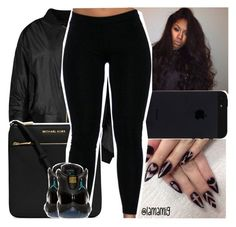 """""""all black affair."""" by lamamig ❤ liked on Polyvore featuring MICHAEL Michael Kors and Retrò"""