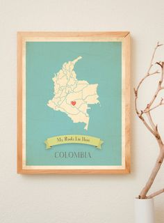 Colombia Roots Map 11x14 Customized Print. $40.00, via Etsy.