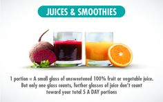 Juices and smoothies portion sizes