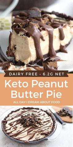 Creamy and rich, this Keto Peanut Butter Pie is completely dairy-free too! A low carb dessert for peanut butter lovers.