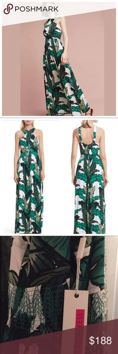 """Tracy Reese Palm Print Maxi Dress This dress sold out at full price at both Nordstrom and Anthropologie. Made from a jersey fabric with elasticized waist and cute green buttons at the back.  100% Rayon. 32"""" bust 26"""" waist unstretched. Anthropologie Dresses Maxi"""