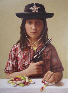 Maya in a cowboy Hat - Oil on Canvas - 2013