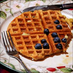 wafflers and butter topping with blueberry