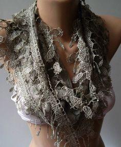 Elegant and feminine scarf  lace scarf Stone Color. $16.90, via Etsy.