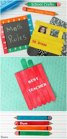 Sticky Sticks are a fun, low mess way for children to create with craft sticks. Get started creating with these four school craft ideas using Sticky Sticks.