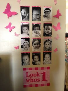 First birthday picture wall.--for my beautiful girl! First Birthday Themes, Baby Girl First Birthday, First Birthday Photos, First Birthdays, Birthday Ideas, Butterfly 1st Birthday, Butterfly Party, Birthday Girl Pictures, Picture Wall