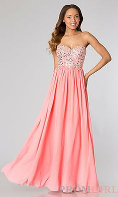 Strapless Beaded Ball Gown by Studio 17 at PromGirl.com #prom #dress