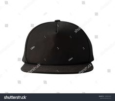 Front view of black snapback cap isolated on white background. Blank  baseball cap or trucker hat c3fd732e483b