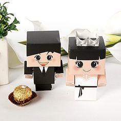 jeune mariée et le marié avec boîte de faveur en argent couronne (jeu de 12) – € 5.78