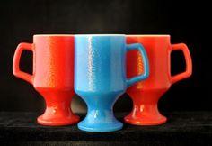 Vintage Pedestal Mugs | Federal Glass Mug Set | Red Blue Coffee Mugs | Retro Mug | 1960s Coffee Mugs | Coffee Cups | Set of 3 Vintage 1960s