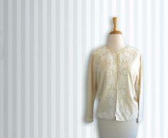 #vogueteam #etsygifts Beaded Light sweater  1950s sequin cardigan  cream by DustyDesert