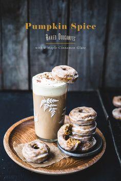 pumpkin spice baked doughnuts with maple-cinnamOn glaze