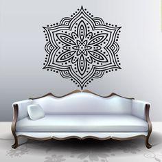 Wall decal art decor decals sticker snowflake Buddhism India Indian circle Buddha OM Yoga room (m216)