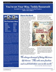 You're On Your Way Teddy Roosevelt  Study Guide by PACESpublishing, $6.99 Classical School, Education, Classical Conversations, Homeschool. Excellent study guides for parents, students and teachers!