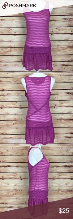 """Prana Sheer Purple Chevron Tunic Skirted Tank S Prana tunic. Purple/magenta. Sheer chevron. Tank style. Scoop neck. Elastic/stretch at hips. Small.  Excellent preowned condition with no flaws.  Measurements are approximately: 36"""" bust, 30"""" waist, and 31"""" length.  58% polyester 42% cotton.  No trades. All items come from a pet friendly home. Bundle to save! Prana Tops Tunics"""