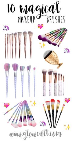 Magical Makeup Brushes, mermaid, unicorn, rainbow, glitter, fish contour brush, marble, rose gold. www.glowcultcosmetics.com #beauty #makeup #cosmetics