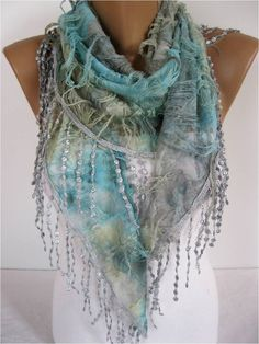 This scarf is wrapped around neck to show off its beauty, colors and details. Elegant Blue Multicolor Scarf Cowl with Lace Edge by MebaDesign by melissagarsia Cute Scarfs, Purple Scarves, Beautiful Outfits, Beautiful Scarves, Scarf Styles, Womens Scarves, Glamour, Fashion Accessories, Elegant