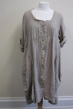 lagenlook clothing | Lagenlook Clothing LARGE 100% Linen Button Thru' Tulip Style Dress ...