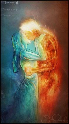 Forbidden love of ~ JRul on deviantART - Maria Rhodes - Games Tattoo, Illustration Art Dessin, Twin Flame Love, Twin Flames, Flame Art, Forbidden Love, Fire And Ice, Yin Yang, Erotic Art