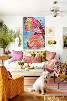 #LivingRoomEndTables Colourful Living Room, Boho Living Room, Bohemian Living, Living Room Decor, Bedroom Decor, Bright Living Rooms, Colorful Rooms, Colorful Decor, Dining Room