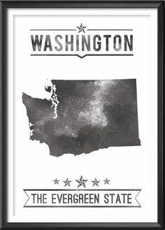 Washington State Typography Print