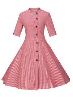 GET $50 NOW | Join RoseGal: Get YOUR $50 NOW!http://www.rosegal.com/vintage-dresses/plaid-buttoned-swing-dress-734255.html?seid=7077191rg734255