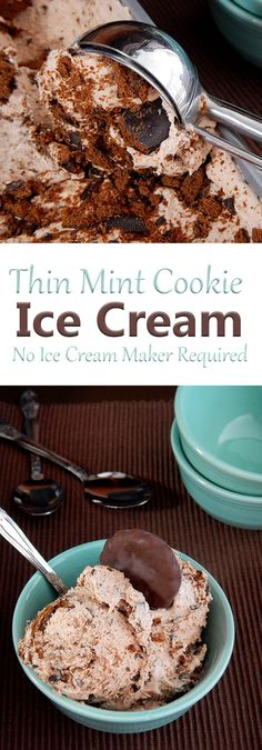 No churn ice cream made with crushed Thin Mint Girl Scout Cookies. There's no ice cream maker required for this easy recipe!
