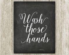 Bathroom Wall Art Wash Those Hands Bathroom by PrintableBeautyArt