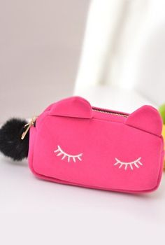 Kitty Velour Purse in Fuchsia | https://sincerelysweetboutique.com/accessories/purses.html | https://sincerelysweetboutique.com | Sincerely Sweet