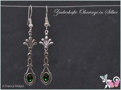 Ohrhänger - Feine Art Deco Vintage Ohrhänger Silber grün Glas - ein Designerstück von Zauberhafte-Ohrringe-in-Silber bei DaWanda