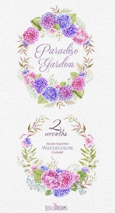 Wedding Watercolor Wreaths Hydrangea flowers Hand by ReachDreams