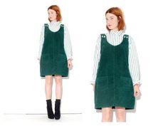 90s Corduroy JUMPER DRESS size MEDIUM forest green by blackmoonsky