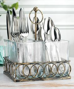 Another great find on #zulily! Four Section Glass & Metal Handle Caddy #zulilyfinds