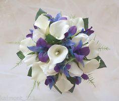 "Blue and purple bridal bouquet | Blue Purple Orchids Calla Lily Rose ""Real Touch"" Bridal Bouquet Flower ..."
