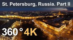 360°, Saint Petersburg, Hermitage museum at night, 4K aerial video